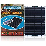 SUNKINGDOM™ 6W 5V Portable Ultra-thin Solar Panel Charger USB Output Solar Battery Charger for Travel Camping Compatible with iPhone,iPad,iPod,Samsung,Power bank or Any Other USB Device (6W/5.5V)