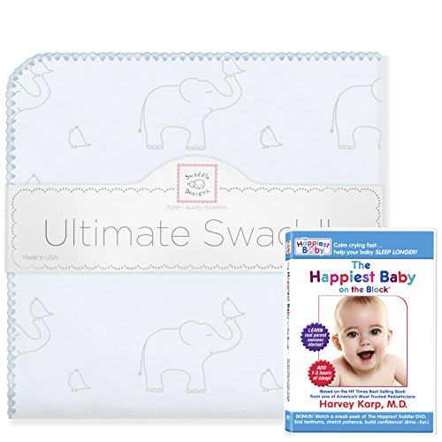 SwaddleDesigns Ultimate Swaddle Blanket Plus The Happiest Baby DVD Bundle, Sterling Deco Elephants, Blue