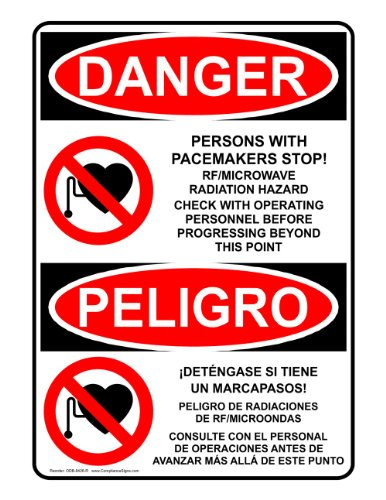 Compliancesigns Plastic Osha Danger Sign, 14 X 10 In. With Mri / X-Ray / Microwave Info In English + Spanish, White