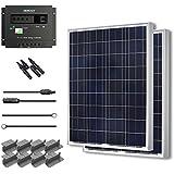 Starter Kit 200W Poly: 2pc 100W Poly Solar Panel +30A Charge controller+20' Adaptor Kit+Z Bracket