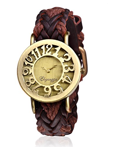 Eleganzza analog Gold Dial Women's Watch (HollowBrown)-846