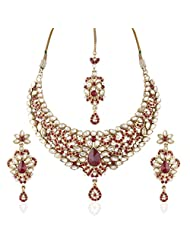 I Jewels Traditional Gold Plated Kundan Necklace Set With Maang Tikka For Women(Maroon)(K7042M)