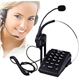 AGPtEK® Call Center Dialpad Monaural Corded Headset Telephone with Noise Cancellation, PC Recording Function Ideal for Small Offices and Home-based Agents , HA0071 , Black