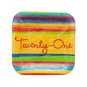 Birthday Stripes 21st Birthday 7-inch Paper Plates 8 Per Pack