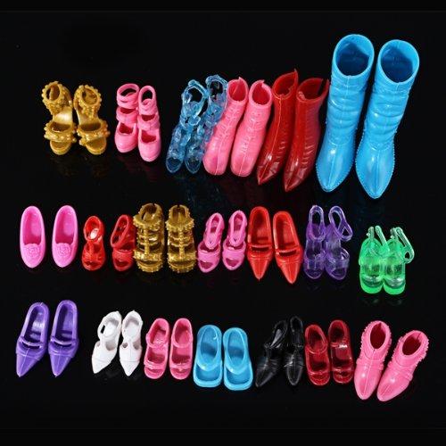 12 Paires Chaussures Botte Sandale Multicolore Pour Poupée Barbie Cadeau