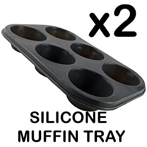 Silicone Two 6 Cup Muffin Pan Tray with FREE Kitchen 2 Scissor Set
