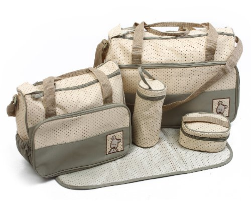5pcs Baby Nappy Changing Bags Set In Khaki Green By Just4baby