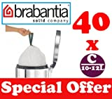 40 x 10-12L Litre Brabantia Smartfix Bin Liners Waste Bags Sacks Type C 2.2-2.6 UK Gal