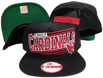 Arizona Cardinals Solid Black Adjustable Snapback Hat Cap by New Era
