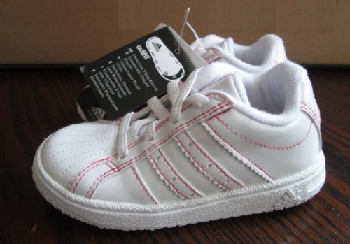ADIDAS INFANT SIZE WHITE & HOT PINK BASKETBALL TRAINERS