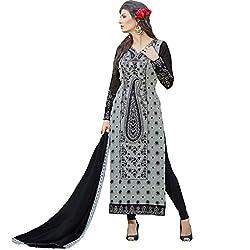Vasu Saree New Georgette Straight Cut Salwar Suit In Grey & Black-1019