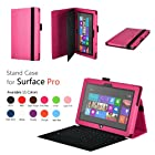 Elsse Premium Folio Case with Stand for Microsoft Surface Pro & Surface Pro 2 (Does not fit Windows 8 RT Version) (Hot Pink)