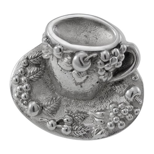 Vicenza Designs K1062  Cappuccino Cup Knob, Large, Polished Silver