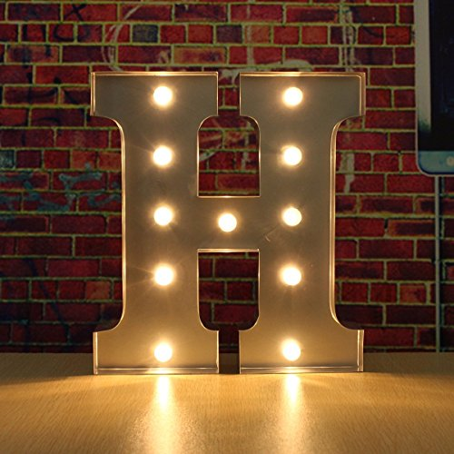SOLMORE 30CM x 5CM LED Metal Marquee Letter Lights Vintage Circus Style Alphabet Light Up Sign Decoration H 0