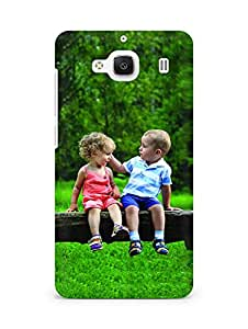 Amez designer printed 3d premium high quality back case cover for Xiaomi Redmi 2 Prime (Lovely Kids Sitting on the Tree)