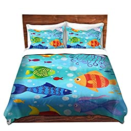 Duvet Covers Premium Woven Twin, Queen, King from DiaNoche Designs by Nicola Joyner Njoy Art Unique, Cool, Fun, Funky, Artistic, Designer, Stylish Home Decor and Bedroom Bedding Ideas - Happy Fish