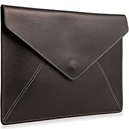 Leah Lerner Women Envelope Flap Clutch Purse Italian Leather Black
