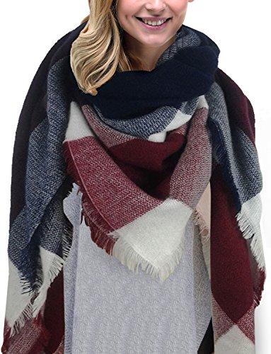 Yidarton Sciarpa Donna Inverno Donne Inverno Di Grandi Simensioni Signore Sciarpa Di Cachemire Lattice Grande Sciarpa (Navy)