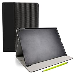 DURAGADGET Premium Quality Faux Leather Folio Stand Case For the NEW Apple iPad Pro (32GB / 128GB, WiFi / WiFi + Cellular) - Plus BONUS Lime Green 2-In-1 Stylus Pen!