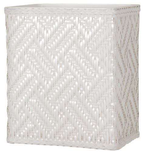 Lamont Home Apollo Snag Proof Wicker Wastebasket, White front-429729