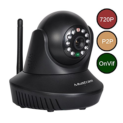 Mustcam H809P 720P HD Indoor WiFi Wireless Network IP Camera, Wireless Baby Monitor, P2P, WPS, IR-Cut, Two-way Audio, Motion Detection, Alarm, Micro-SD Storage, Night Vision, OnVif (Black)