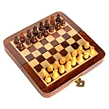 "7"" X 7″ Collectible Wooden Chess Game Board Set+Wooden Magnetic Crafted Pieces"