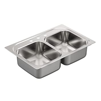 Moen G182113 1800 Series 18 Gauge Double Bowl Drop-In Sink, Stainless Steel
