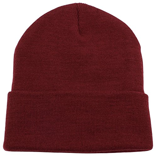 Cuffed Plain Beanie Skull Cap | Winter Unisex Knit Hat Toboggan For Men & Women | Unique & Timeless Clothing Accessories By Top Level,Burgundy,One Size (Extra Large Beanie Hat compare prices)