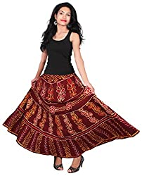 CAY Kutchi Block Batik Print 100% Cotton Beautiful Floral Design Red Color Long Ethnic Skirt (Free Size/Waist)