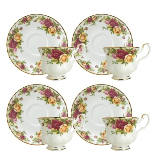 Royal Doulton-Royal Albert Old Country Roses Teacups And Saucers, Set Of 4