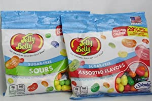Jelly Belly Sugar Free 2 Packs of Jelly Beans - 1 Pack Assorted Flavors & 1 Pack Sours