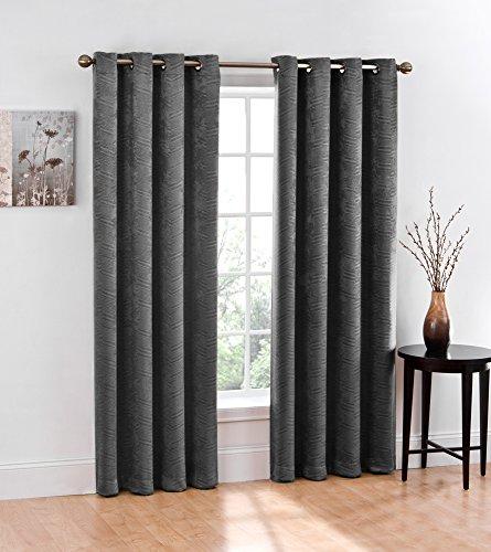 2 piece blackout window curtain grommet panels total width 100 x 84 gray curtain store. Black Bedroom Furniture Sets. Home Design Ideas