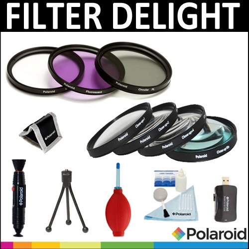 Polaroid Optics 3 Piece Filter Set (UV, CPL, FLD) + Polaroid Optics 4 Piece Close Up Filter Set (+1, +2, +4, +10) + Cleaning & Accessory Kit For The Pentax Q Digital SLR Cameras Which Has Any Of These (5-15mm, 9mm) Pentax Q Lenses