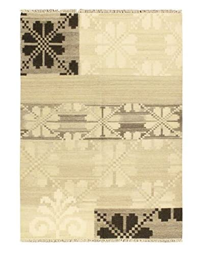 Hand Woven Istanbul Yama Kilim, Cream/Black, 5' 7 x 7' 10