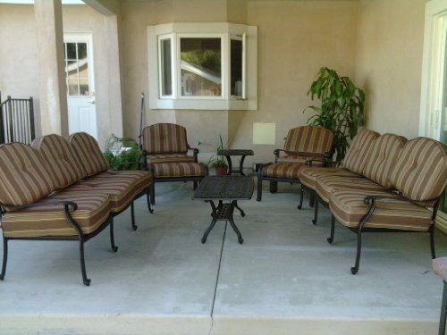 Patio Heaven SB 30 SET 5410 Signature Deep Seating Group With Cushions In Canvas Fabric Air Blue