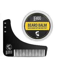 BEARDO Beard Shaping and Styling Tool Comb and BEARDO Beard Balm (50g) - Makes Beard Soft & Non-Itchy Combo.