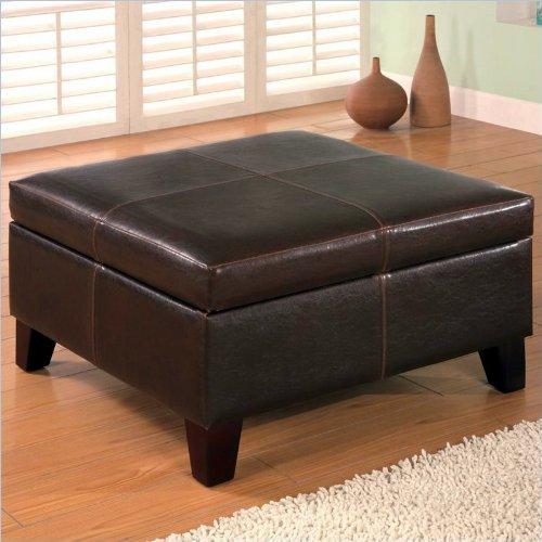Coaster 501042 Dark Brown Leather Vinyl Storage Ottoman With Wood Legs