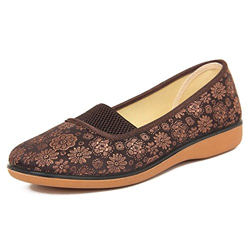 scarpe Ms./scarpe casual scivolare negli anziani/Traspirante con scarpe piane codice di calibro-B Lunghezza piede=25.8CM(10.2Inch)