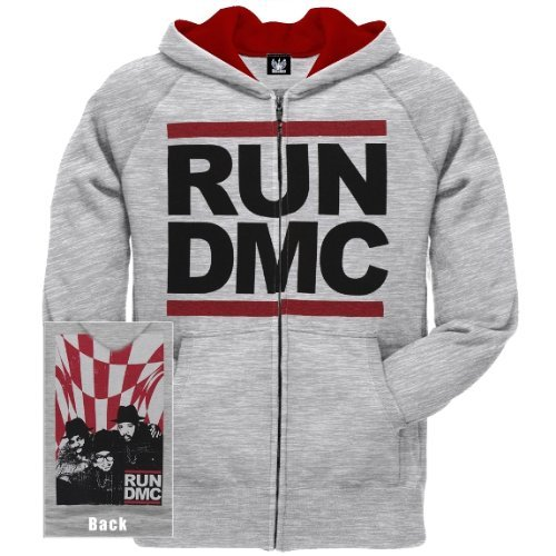 Old Glory Mens Run DMC - Check Mate Zip Hoodie - Medium Grey