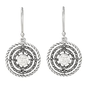 Sterling Silver Marcasite Clear Glass Concentric Circles Earrings