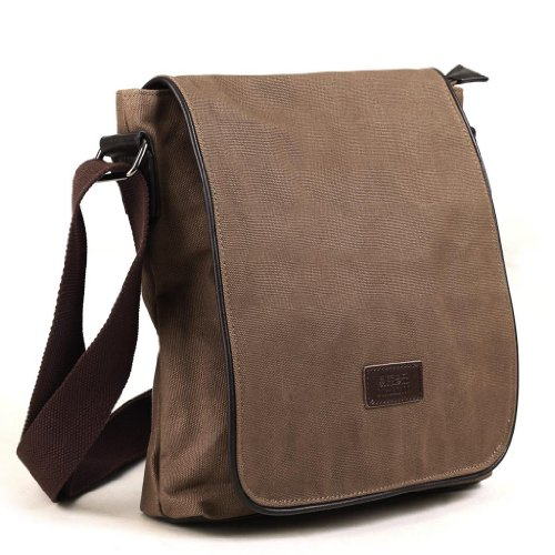 Eshow Men's Casual Canvas Flapover Cross Body Messenger Bag
