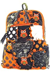 Cute! Patchwork Camo Owl Small Backpack Purse Orange Camouflage