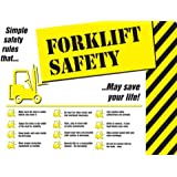 """Accuform Signs PST754 Safety Awareness Poster, """"FORKLIFT SAFETY"""", 18"""" Length x 24"""" Width, Laminated Flexible Plastic"""