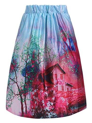 Frenshion da donna, vita alta Fahsion Summer Sakura-Gonna multicolore, taglia unica PR0312 Taglia unica