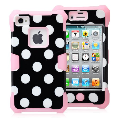 Magicsky Plastic + Silicone Hybrid Black Polka Dot Pattern Active Glow Case For Apple Iphone 4 4S 4G - 1 Pack - Retail Packaging - Baby Pink/Black