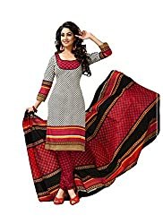 MD Textiles Women Cotton Dress material (KitKet_2010_White_White_Free Size)