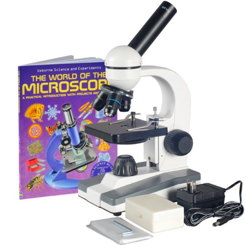 Amscope M148C-Ps25-Wm Compound Monocular Microscope, Wf10X And Wf25X Eyepieces, 40X-1000X Magnification, Led Illumination, Brightfield, Single-Lens Condenser, Plain Stage, 110V Or Battery-Powered, Includes Set Of 25 Prepared Slides And Book