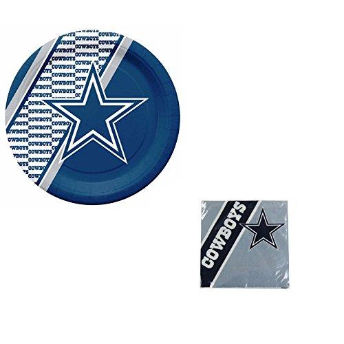 A 40 Piece NFL Gift Set 20 Disposable Paper Plates and 20 Napkins - Dallas Cowboys