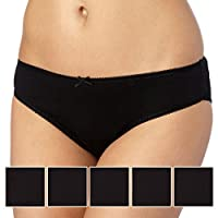Debenhams Womens Pack Of Five Cotton Black Bikini Briefs