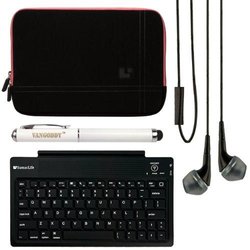 Sumaclife Microsuede Sleeve For Lenovo Yoga Tablet 10 + Bluetooth Keyboard + Vg Stylus Pen + Black Vangoddy Headphones (Pink)